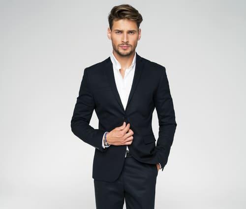 handsome man in black suit